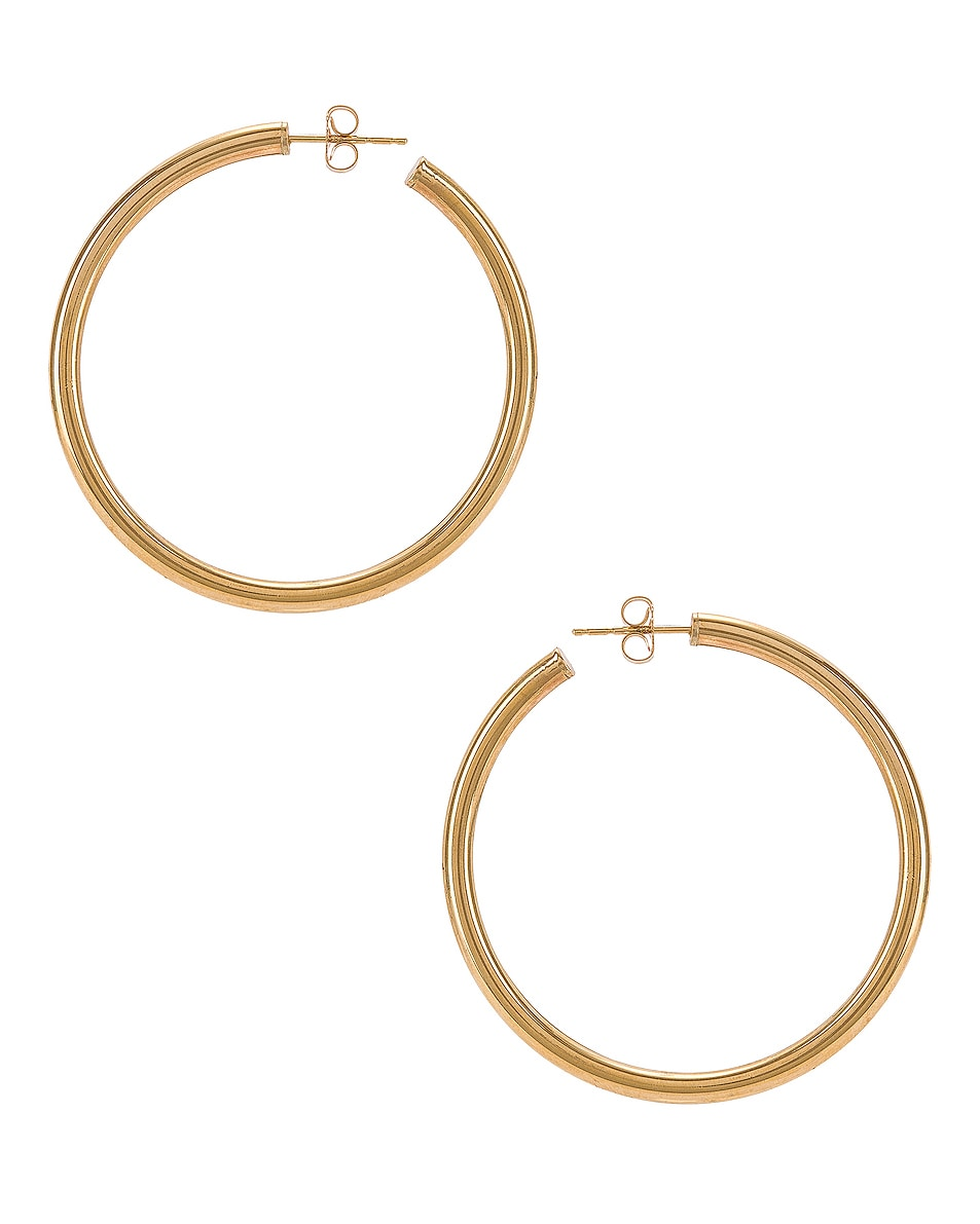 Image 1 of Loren Stewart Natasha Hoop Earrings in Yellow Gold