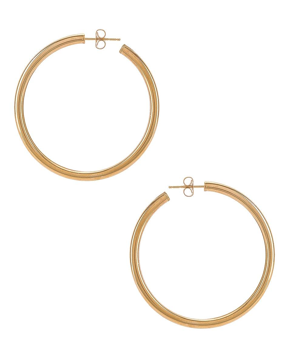 Image 4 of Loren Stewart Natasha Hoop Earrings in Yellow Gold
