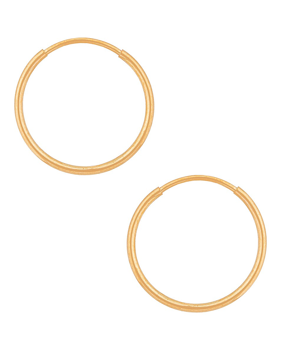 Image 1 of Loren Stewart Mini Infinity Hoop Earrings in Gold