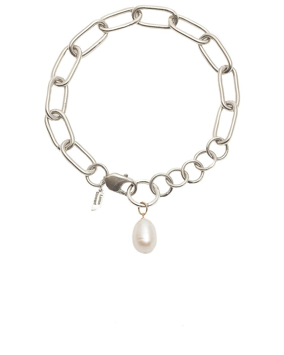 Image 1 of Loren Stewart Industrial XXL Chain Pearl Anklet in Sterling Silver