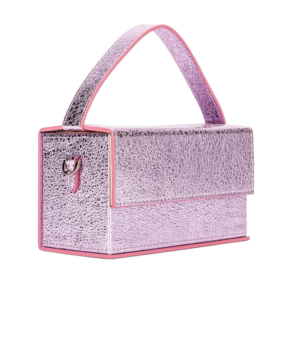 Image 4 of L'Afshar Small Ida in Metallic Pink With Silver Link