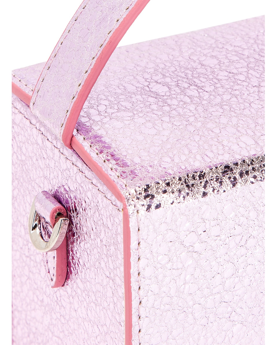 Image 8 of L'Afshar Small Ida in Metallic Pink With Silver Link
