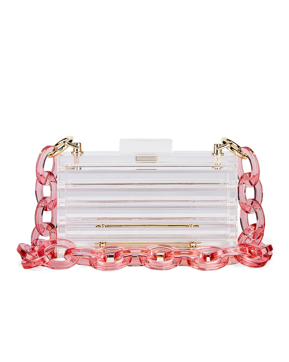 Image 1 of L'Afshar Lowe in Clear With Lucite Pink Chain
