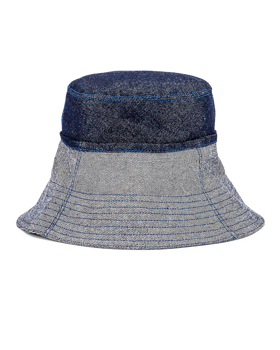 Image 1 of Lola Hats Cuffed Bucket Hat in Blue Denim