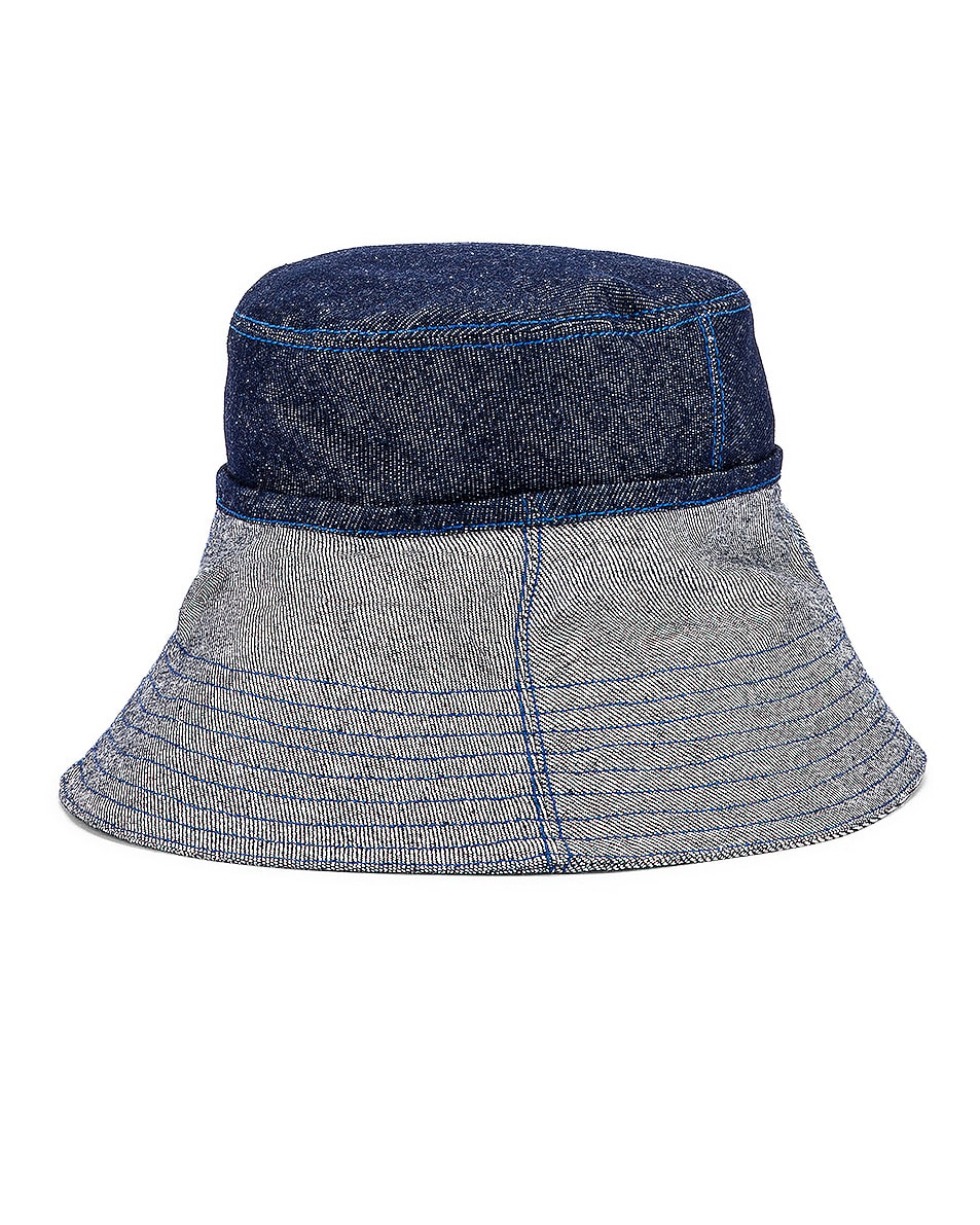 Image 2 of Lola Hats Cuffed Bucket Hat in Blue Denim