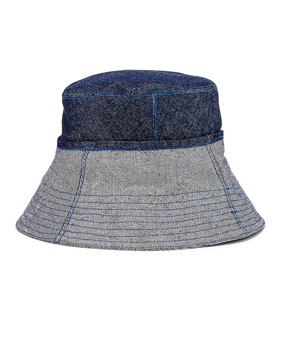 Image 3 of Lola Hats Cuffed Bucket Hat in Blue Denim