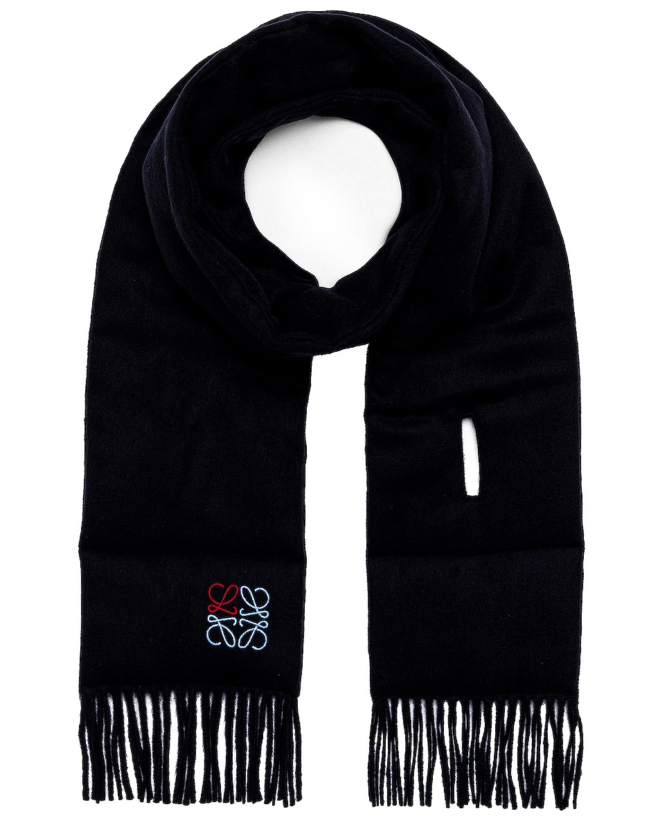 Image 1 of Loewe Padded Anagram Scarf in Navy Blue