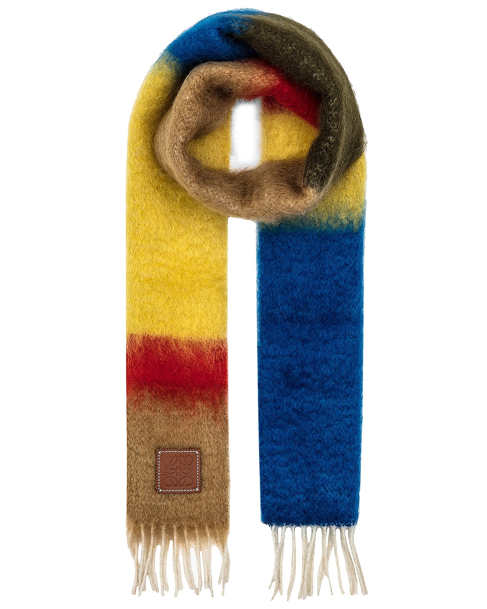 Image 1 of Loewe Striped Mohair Scarf in Camel & Blue
