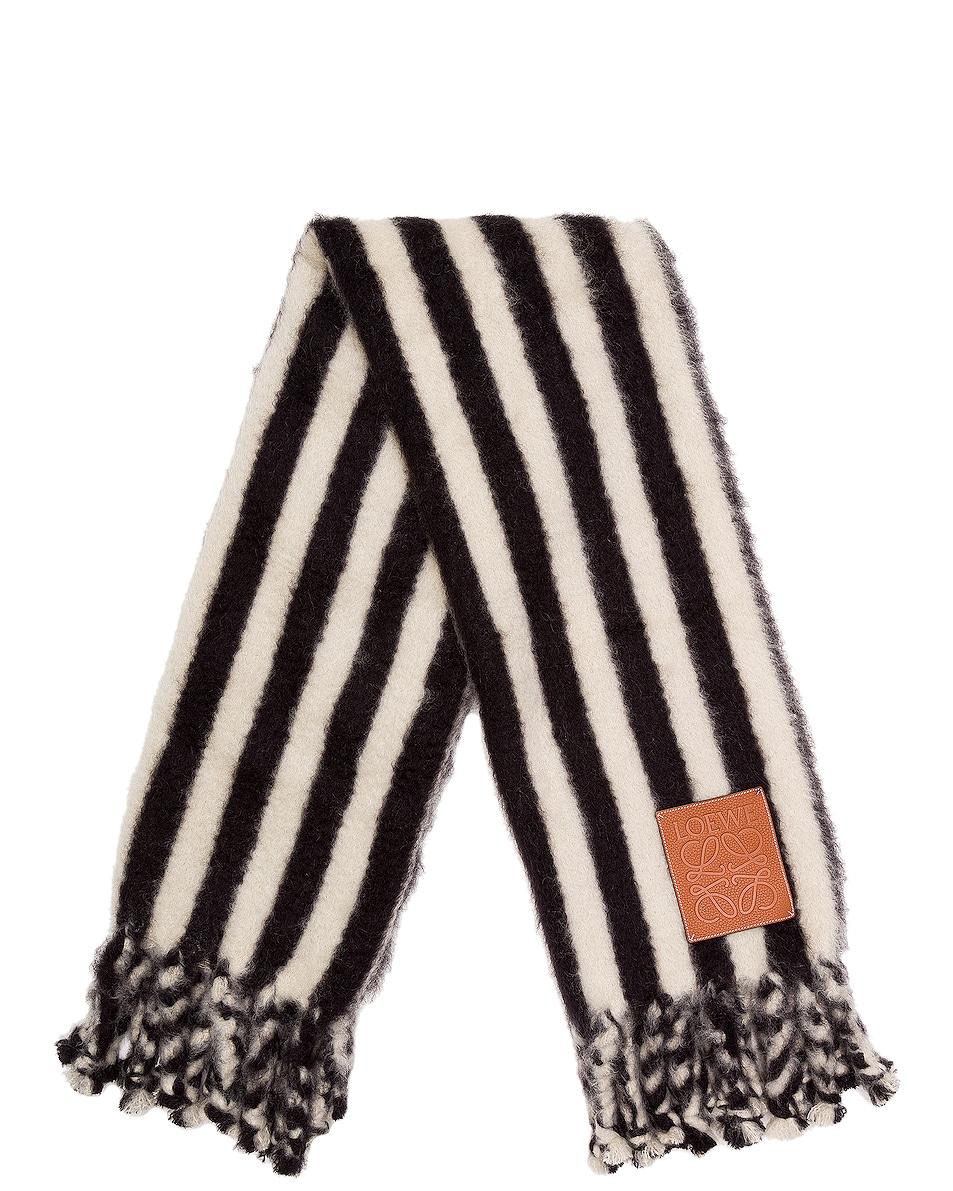 Image 1 of Loewe Mohair Stripes Scarf Blanket in White & Black