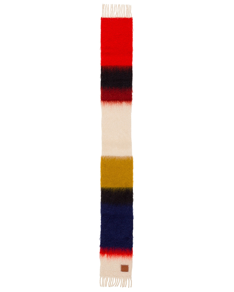 Image 2 of Loewe Mohair Stripes Scarf in Red & Multicolour