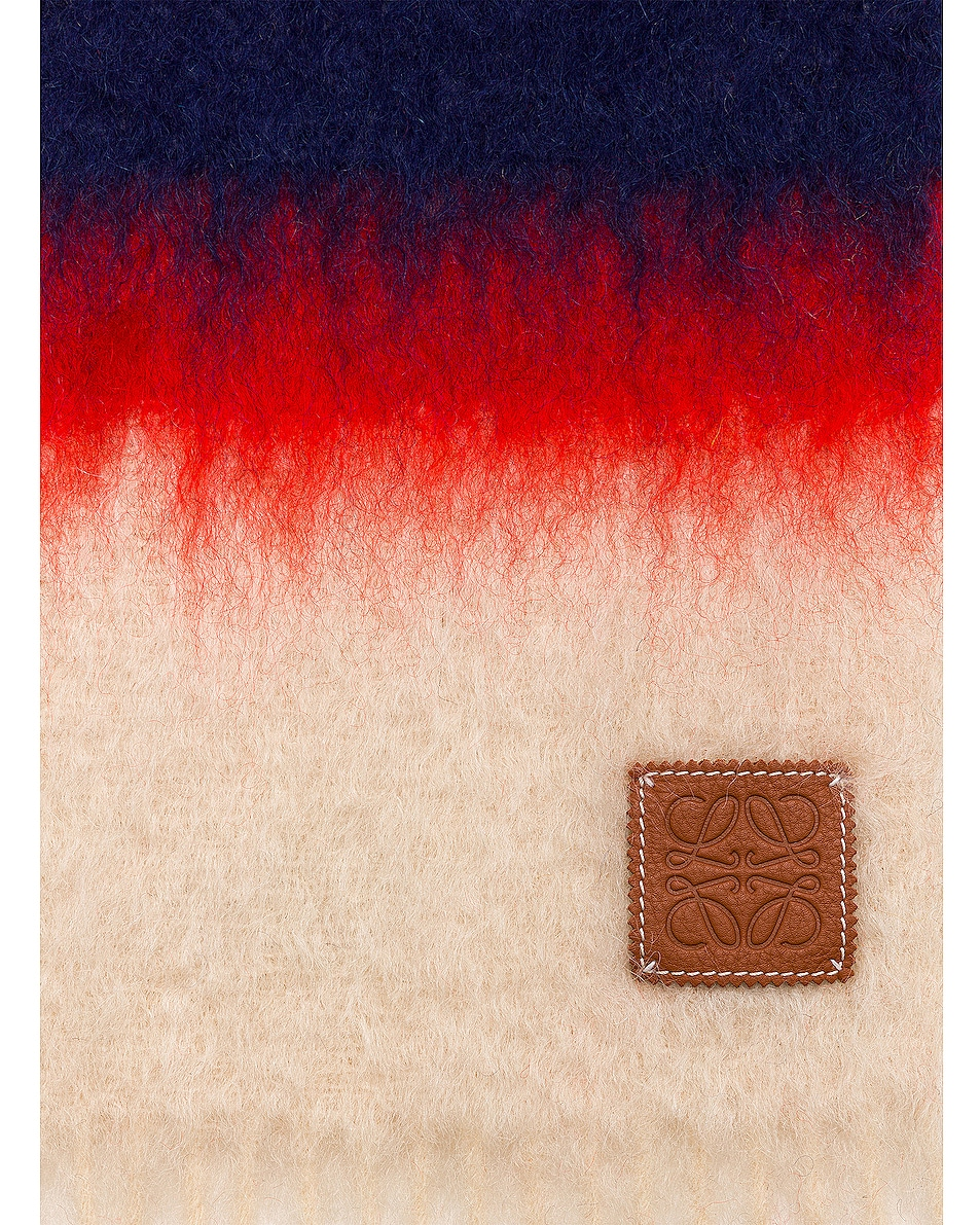 Image 3 of Loewe Mohair Stripes Scarf in Red & Multicolour