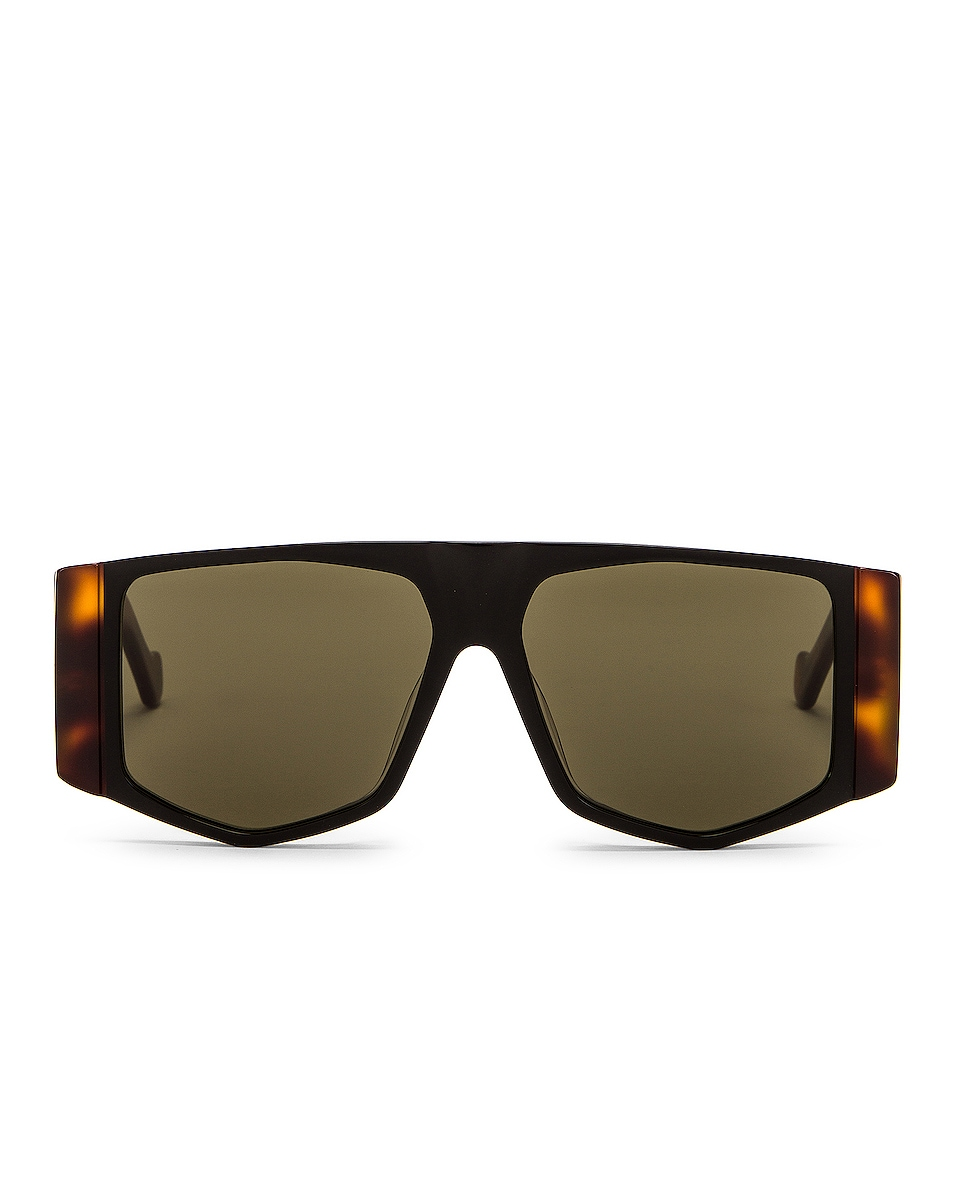 Image 1 of Loewe Small Rectangle Sunglasses in Green & Shiny Black
