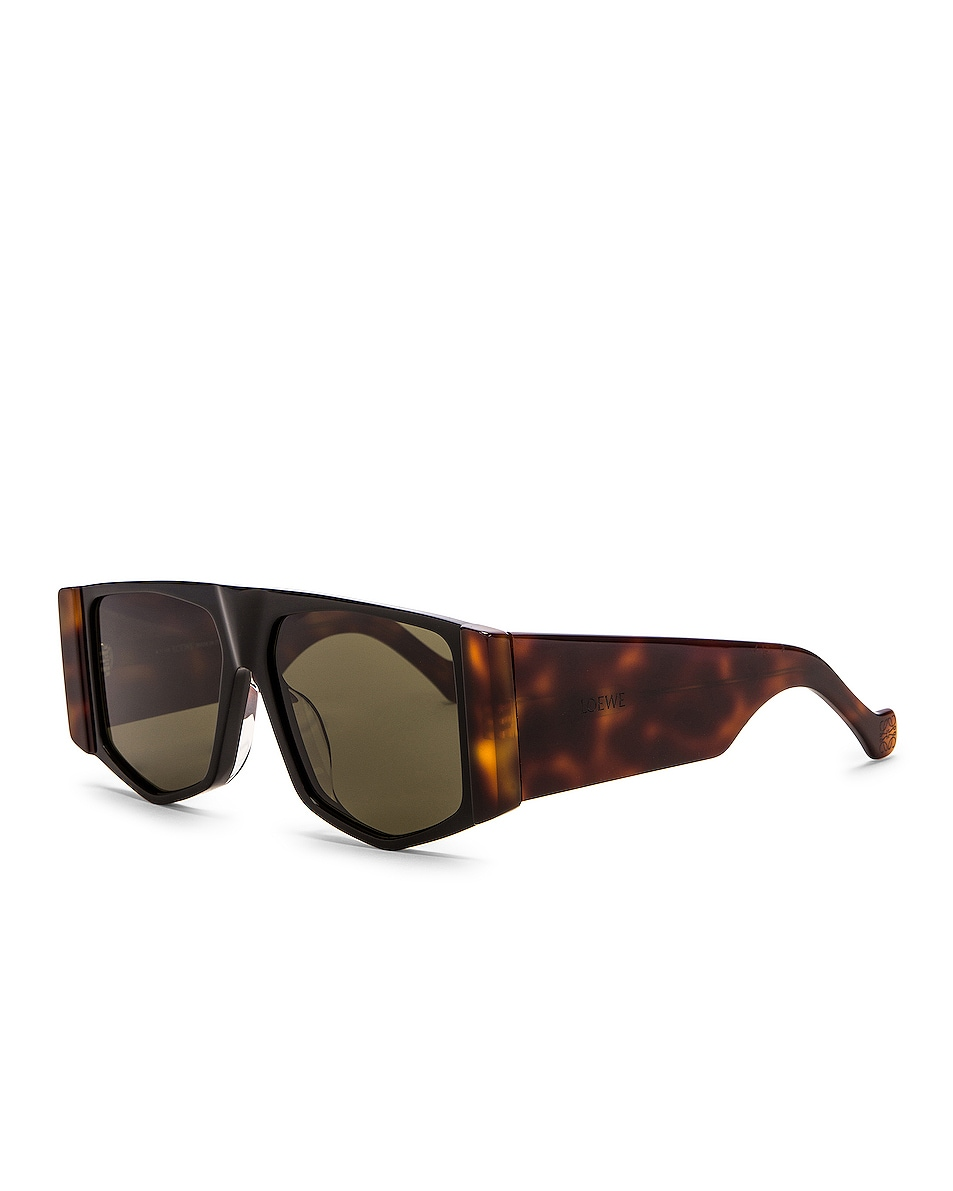 Image 2 of Loewe Small Rectangle Sunglasses in Green & Shiny Black