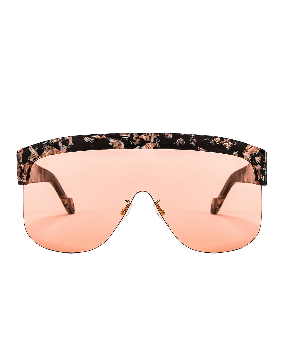 Image 1 of Loewe Shield Sunglasses in Colored Havana & Bordeaux