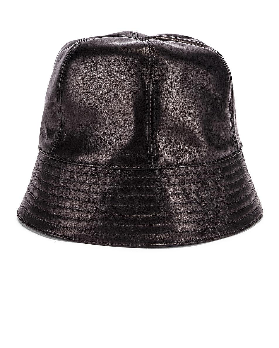 Image 1 of Loewe Leather Bucket Hat in Black