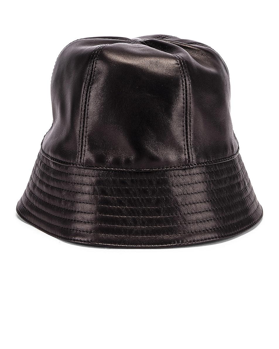 Image 2 of Loewe Leather Bucket Hat in Black