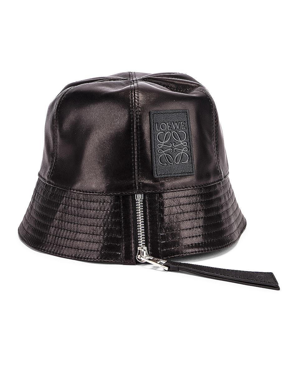 Image 4 of Loewe Leather Bucket Hat in Black