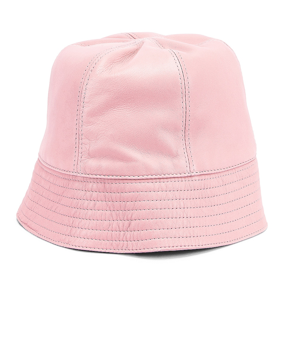 Image 2 of Loewe Leather Bucket Hat in Icy Pink