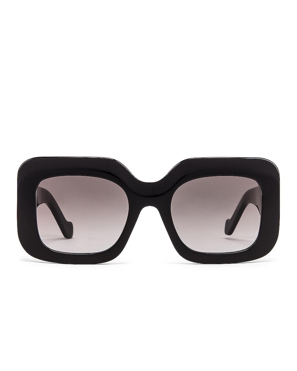 Image 1 of Loewe Acetate Rectangular Sunglasses in Shiny Black