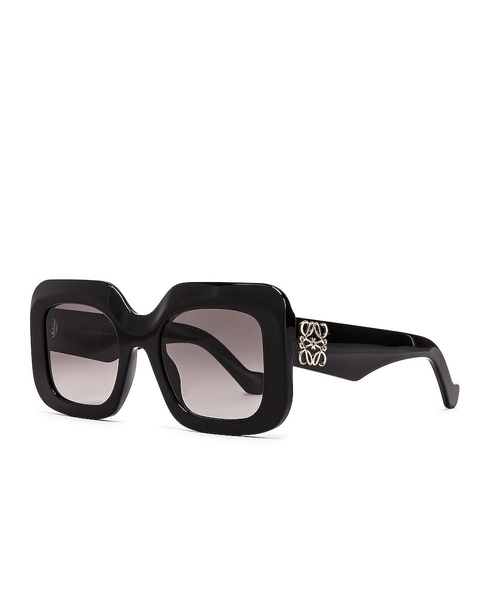 Image 2 of Loewe Acetate Rectangular Sunglasses in Shiny Black