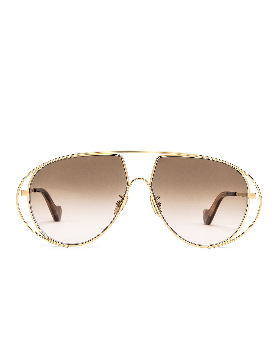 Image 1 of Loewe Metal Pilot Sunglasses in Shiny Gold & Brown