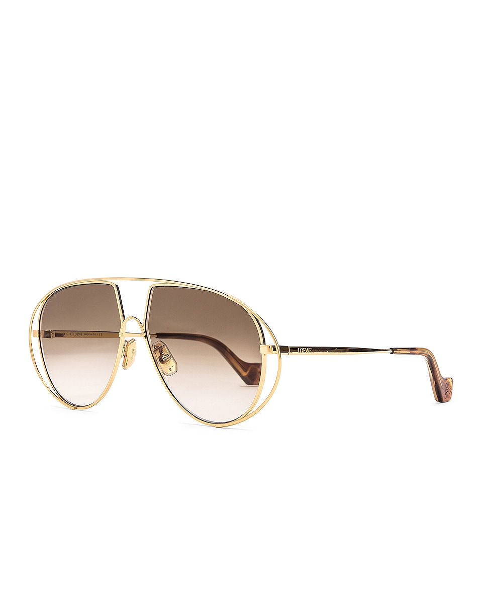 Image 2 of Loewe Metal Pilot Sunglasses in Shiny Gold & Brown