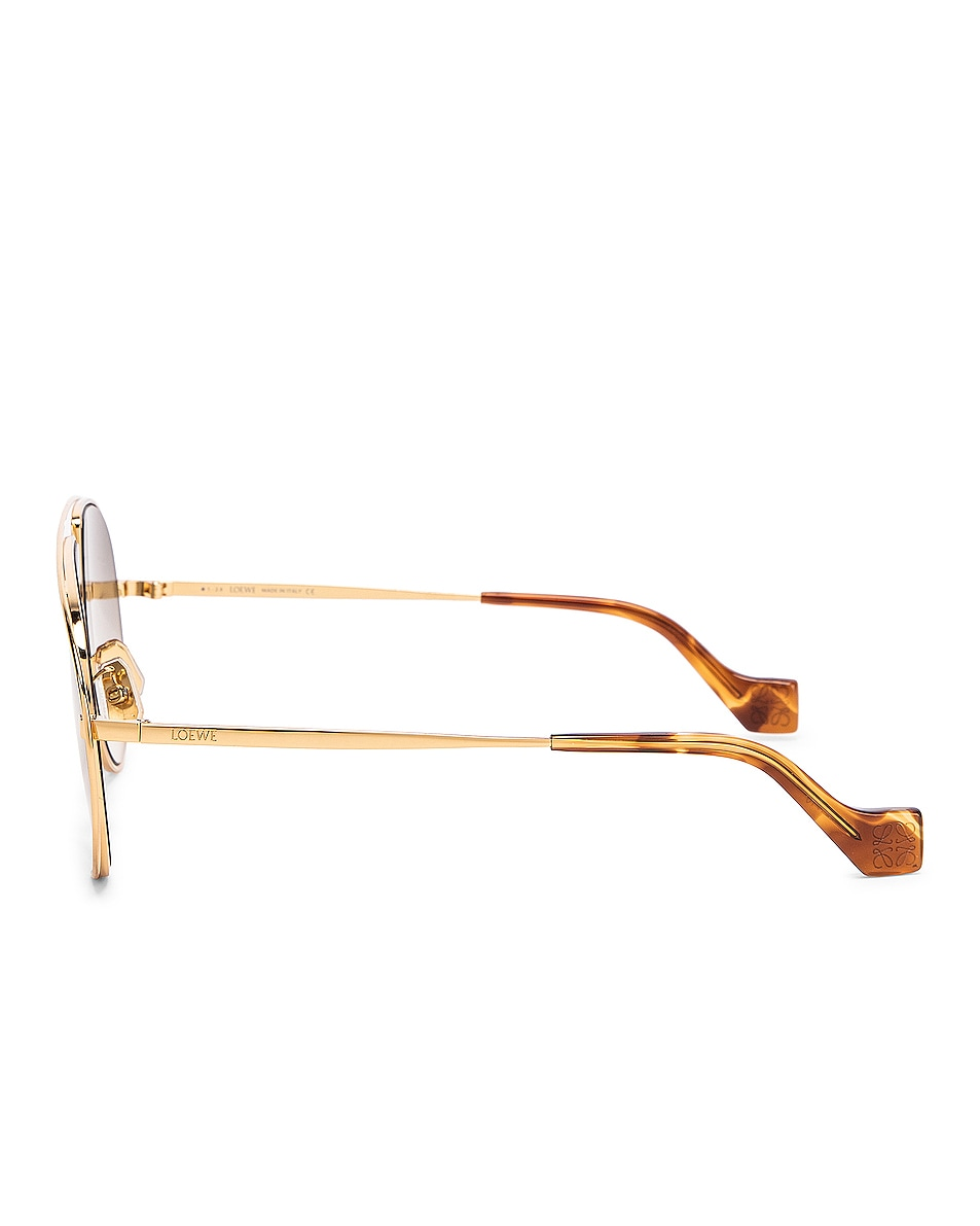 Image 3 of Loewe Metal Pilot Sunglasses in Shiny Gold & Brown
