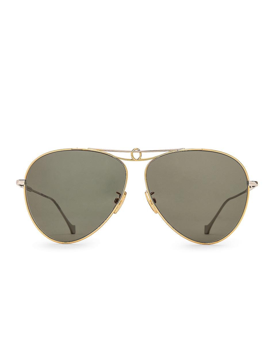 Image 1 of Loewe Metal Knot Pilot Sunglasses in Green & Shiny Endura Gold