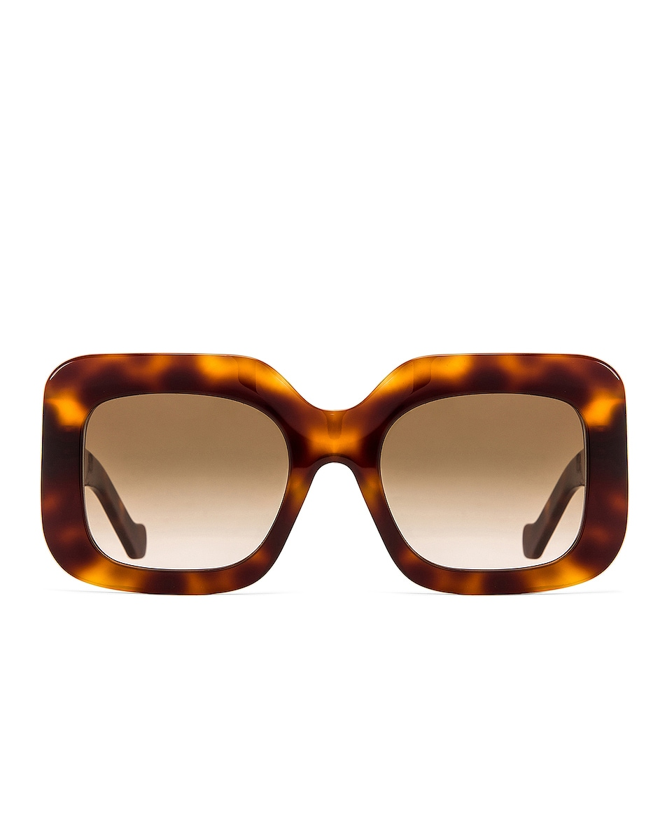 Image 1 of Loewe Acetate Rectangular Sunglasses in Shiny Classic Havana