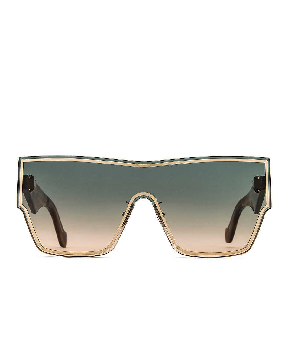 Image 1 of Loewe Large Mask Sunglasses in Gold & Gradient Green