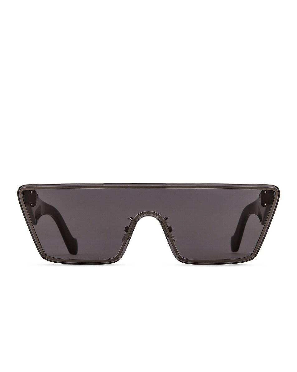 Image 1 of Loewe Small Mask Sunglasses in Shiny Light Ruthenium & Smoke