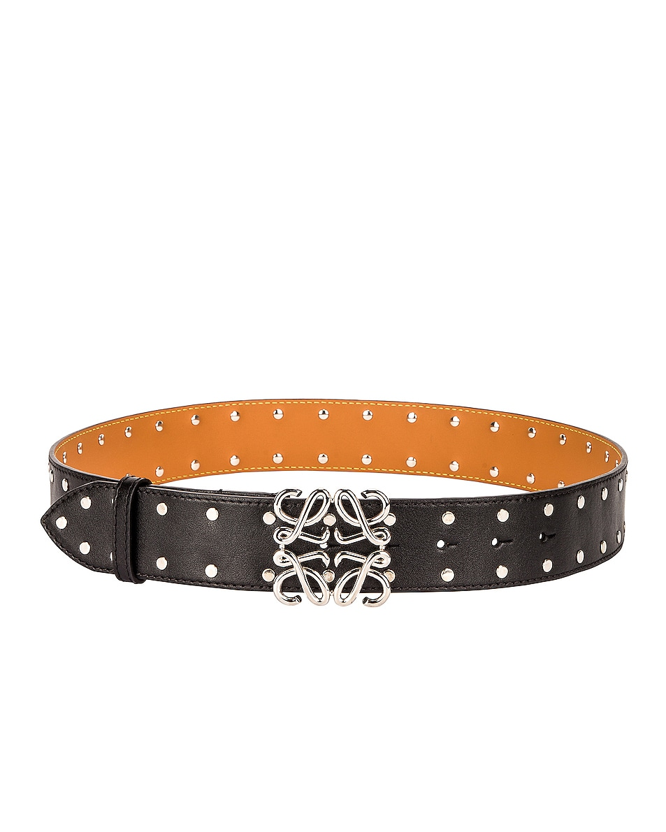 Image 1 of Loewe Anagram Stud Belt in Black & Palladium