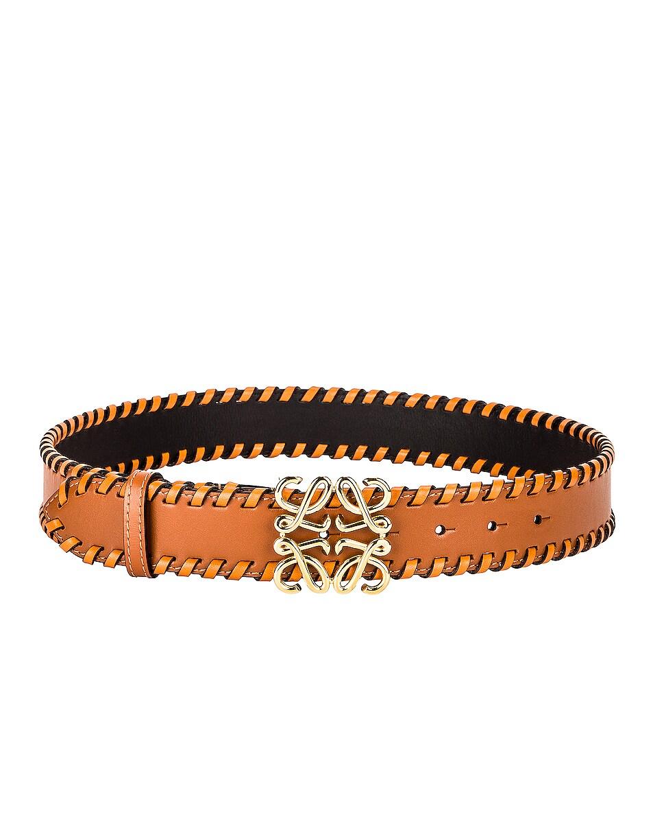 Image 1 of Loewe Anagram Braided Belt in Tan & Gold