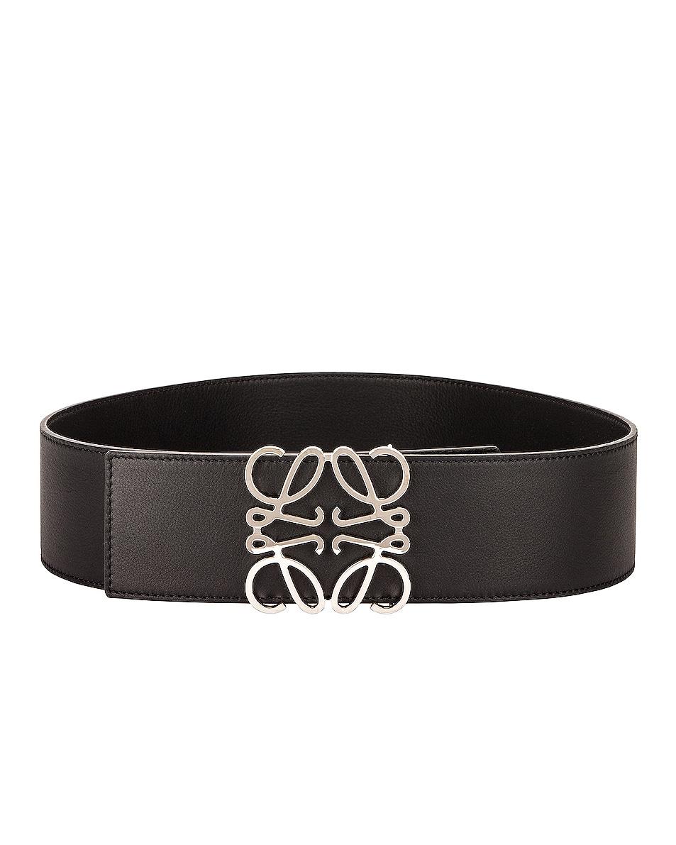 Image 1 of Loewe Anagram Wide Belt in Black & Palladium
