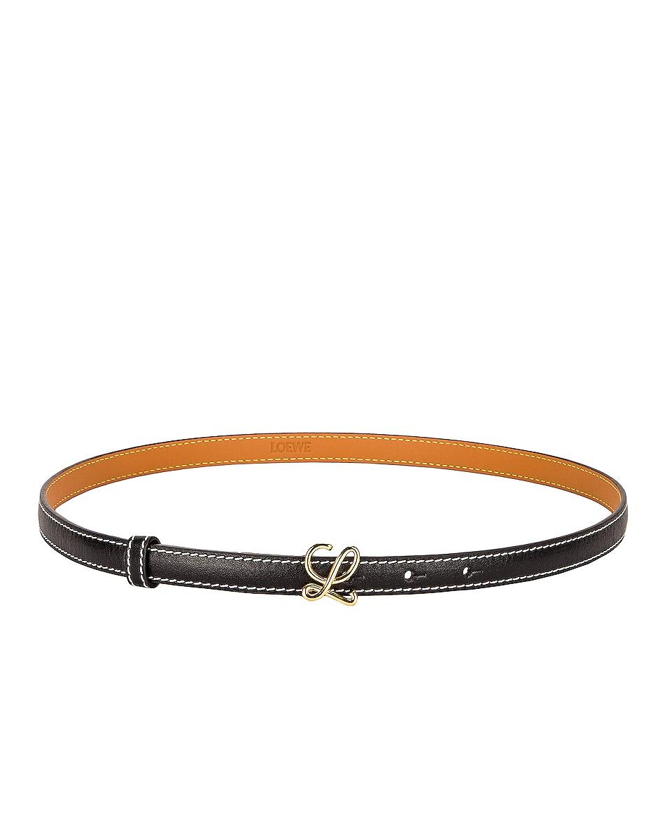Image 1 of Loewe L Buckle Belt in Black & Gold