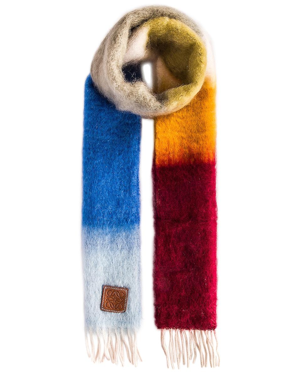 Image 1 of Loewe Stripe Scarf in Brown & Blue