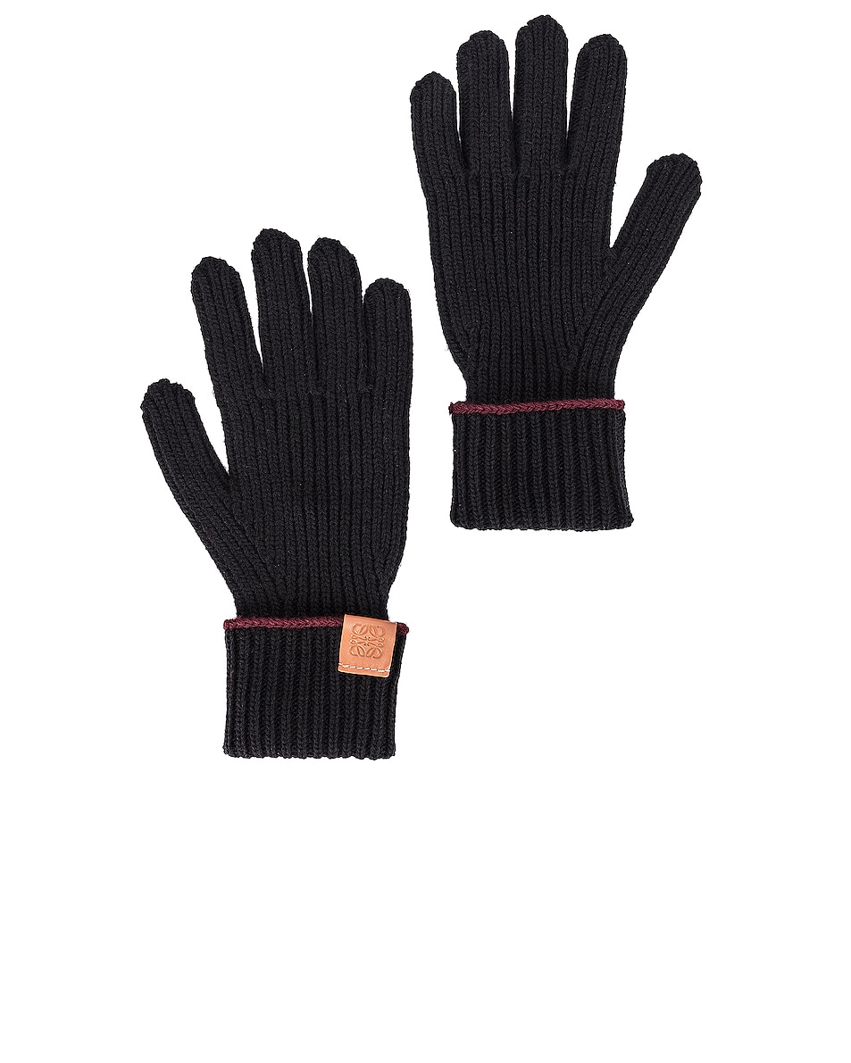 Image 1 of Loewe Knitted Gloves in Black