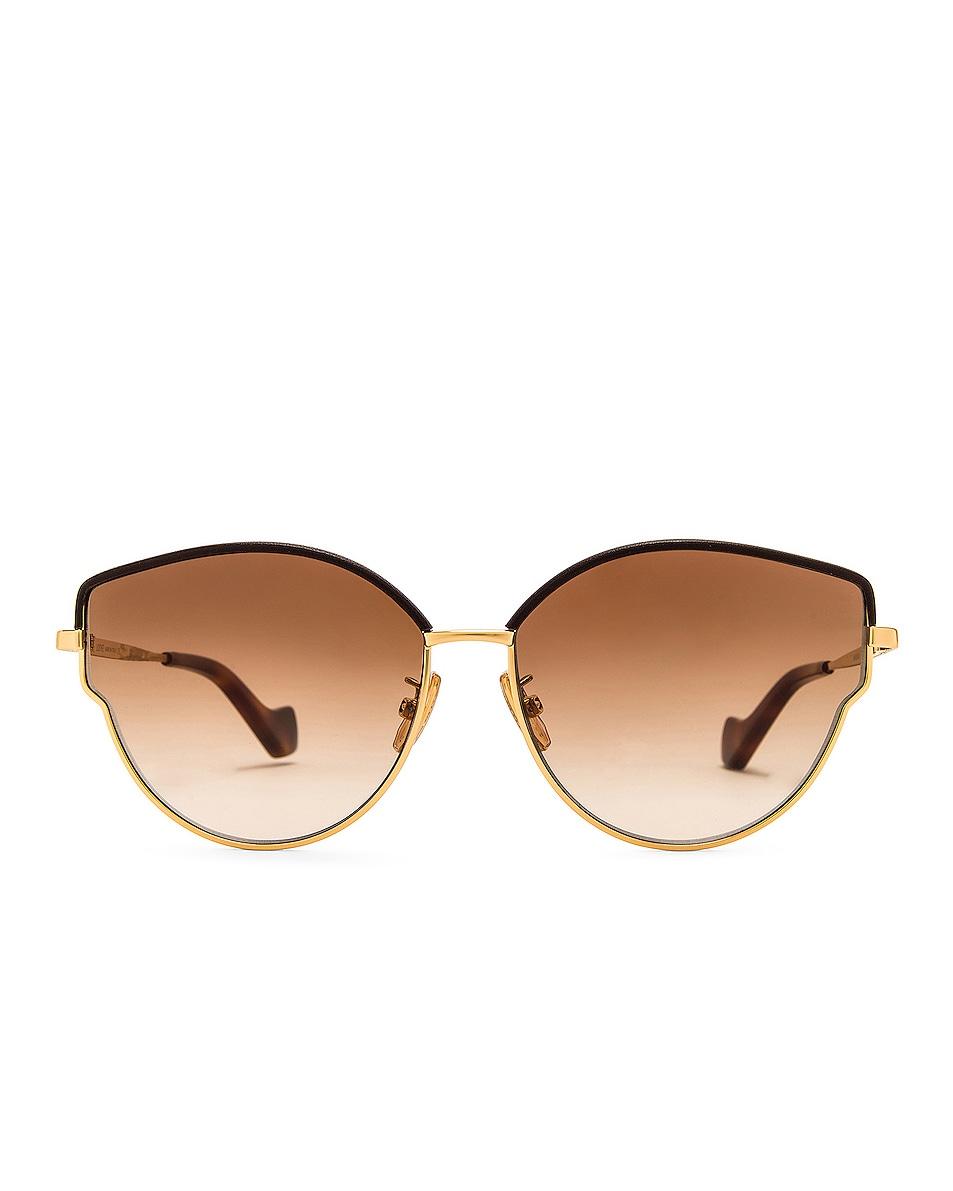 Image 1 of Loewe Metal Leather Sunglasses in Gradient Brown & Shiny Endura Gold