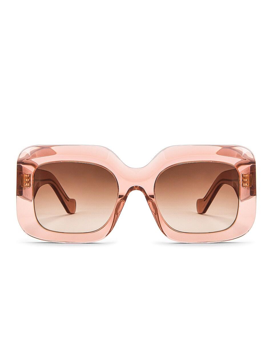 Image 1 of Loewe Square Sunglasses in Shiny Transparent Rose & Brown Gradient
