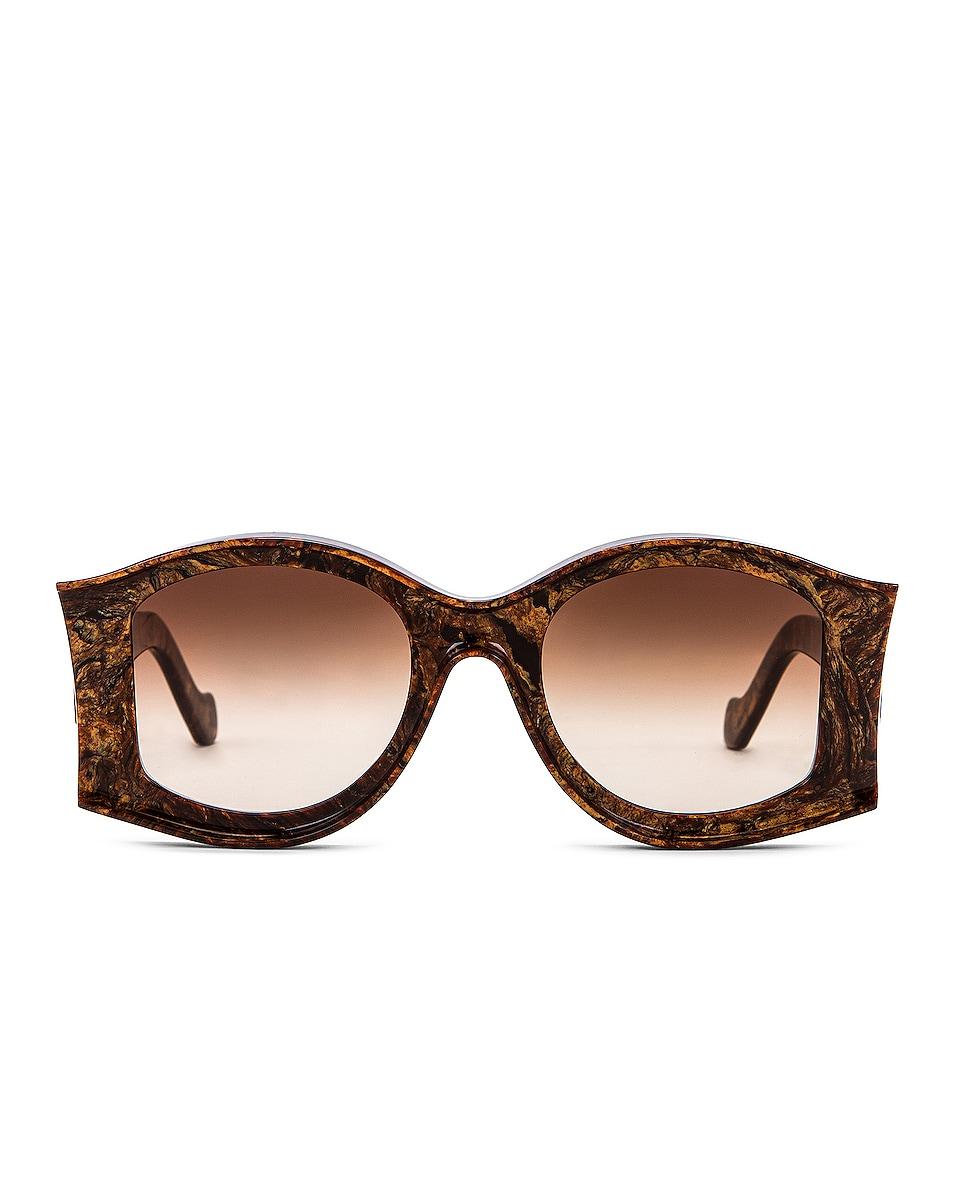 Image 1 of Loewe Paula's Ibiza Round Acetate Sunglasses in Shiny Radica & Gradient Brown