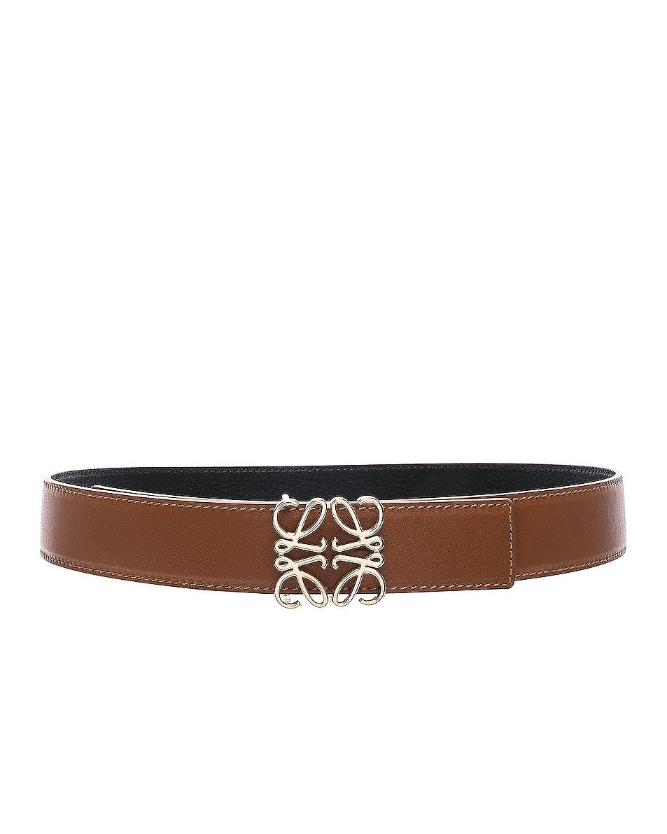 Image 1 of Loewe Anagram Belt in Tan, Black & Gold