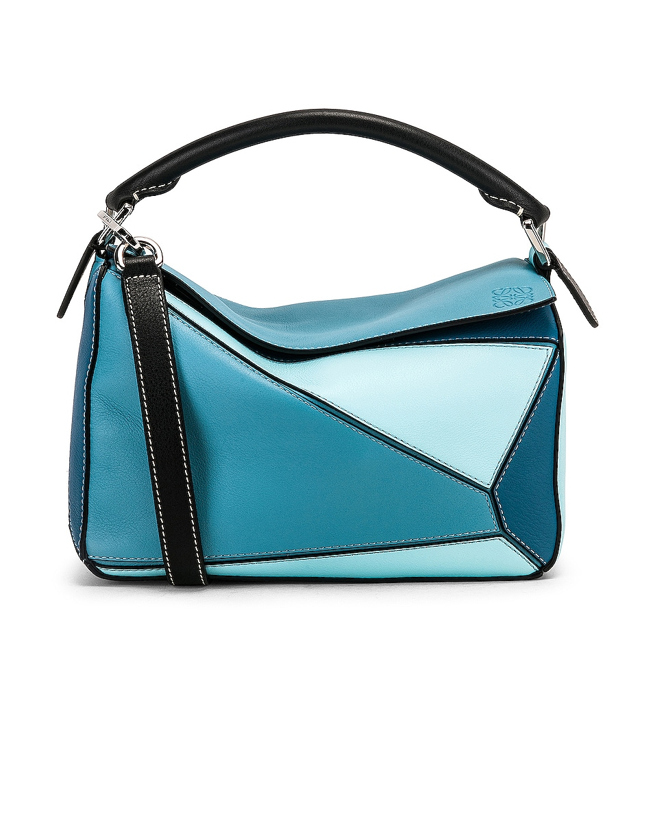 Image 1 of Loewe Puzzle Small Bag in Light Blue & Aqua