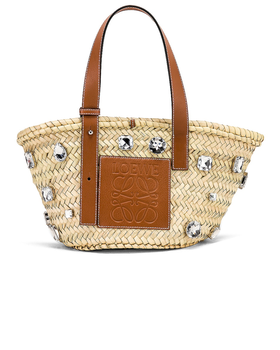 Image 1 of Loewe Small Stones Basket in Natural & Tan