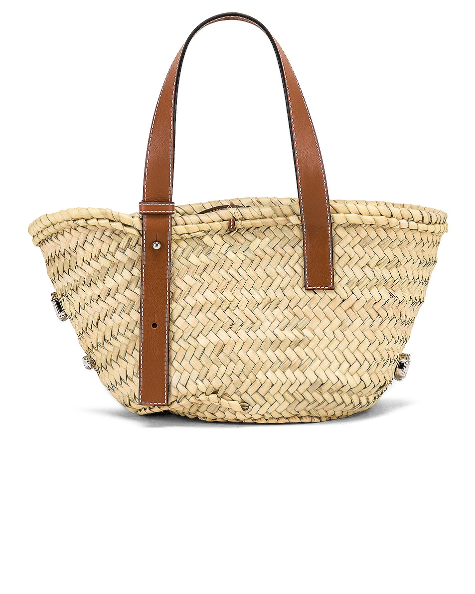 Image 2 of Loewe Small Stones Basket in Natural & Tan