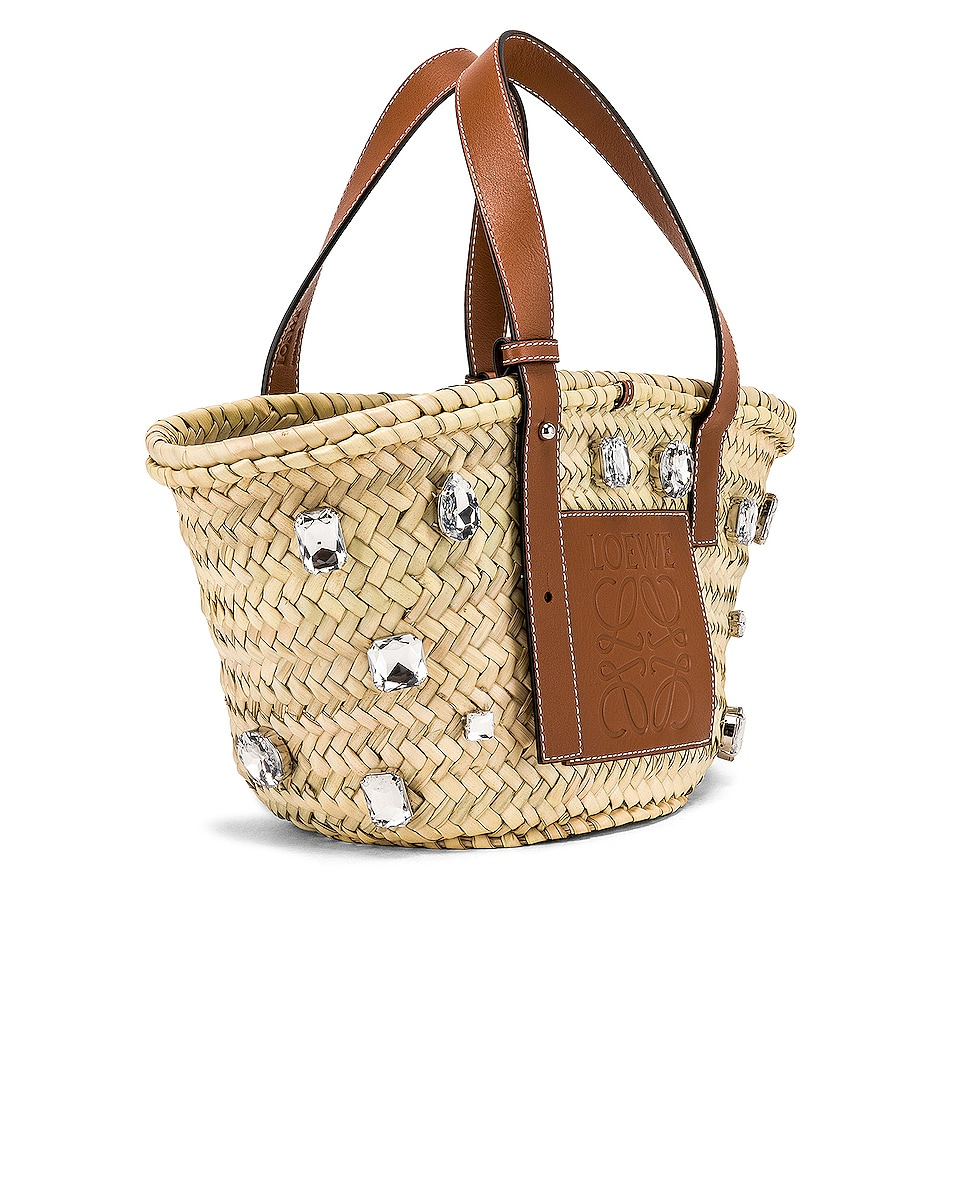 Image 3 of Loewe Small Stones Basket in Natural & Tan