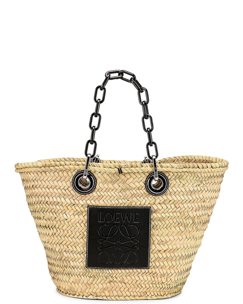 Image 1 of Loewe Basket Chain Bag in Natural & Black