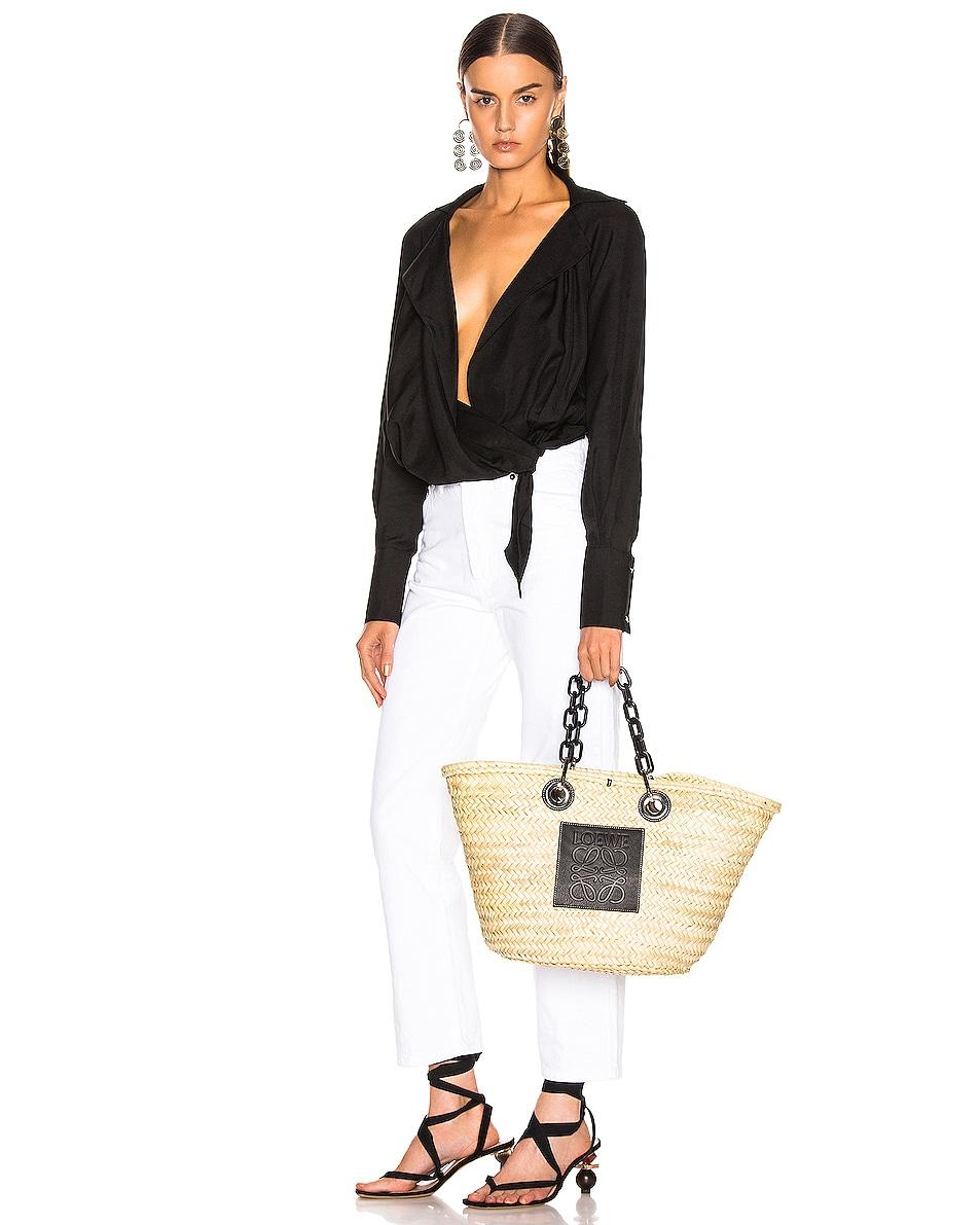 Image 2 of Loewe Basket Chain Bag in Natural & Black