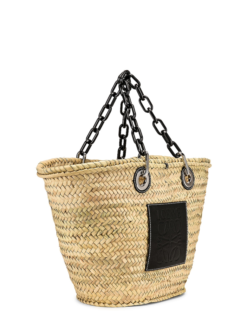 Image 4 of Loewe Basket Chain Bag in Natural & Black