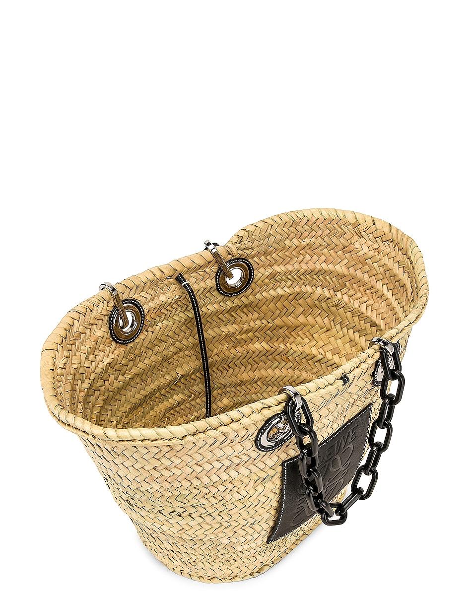 Image 5 of Loewe Basket Chain Bag in Natural & Black