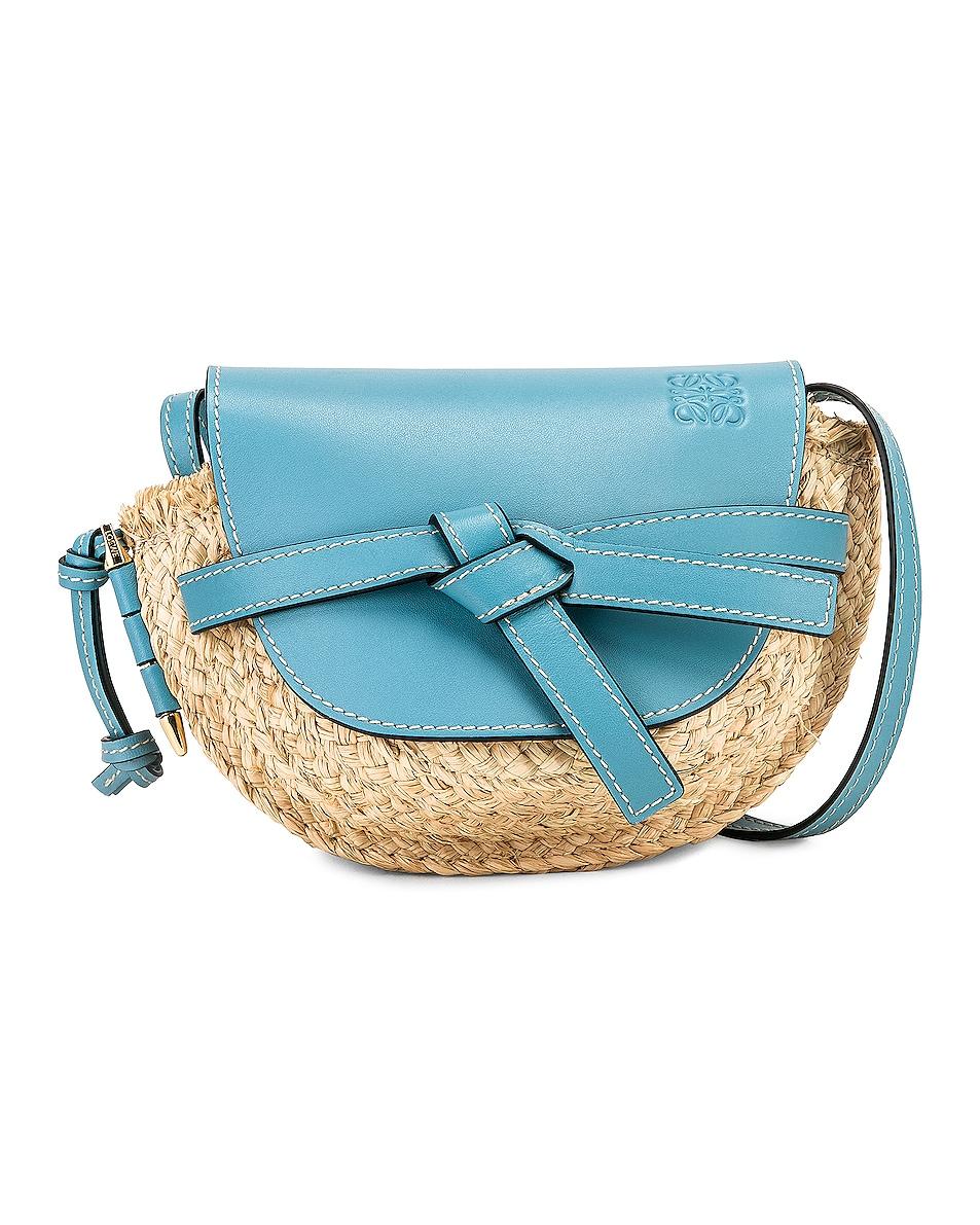 Image 1 of Loewe Mini Gate Bag in Light Blue & Natural
